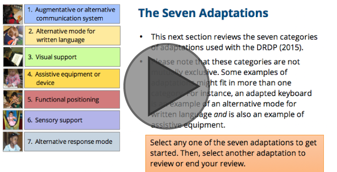 Interactive Tutorial for Using Adaptations with the DRDP (2015)
